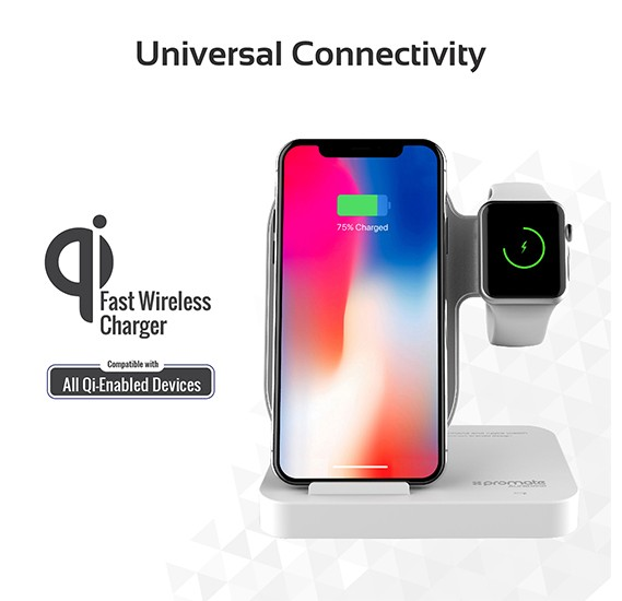 Promate Wireless Charging Stand, Portable Aluminium Dual 10W Qi Fast Wireless Charging Dock with Anti-Slip Surface, AuraBase Black