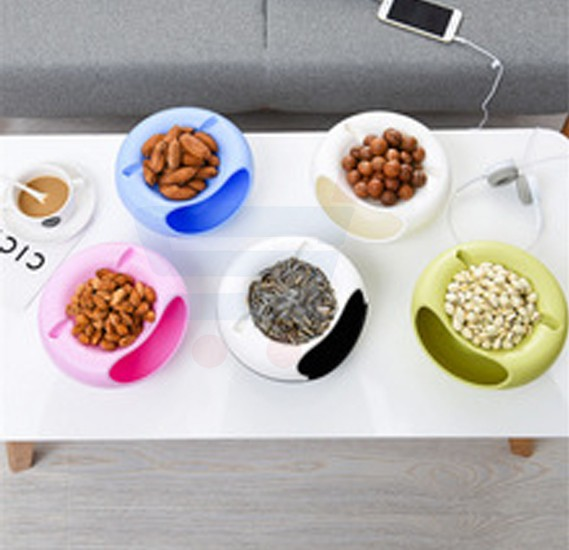Multifunctional Double Deck Aperatives Food Fruit Storage Box Dish Circular Plastic Table Grocerie Storage Plate Organizer