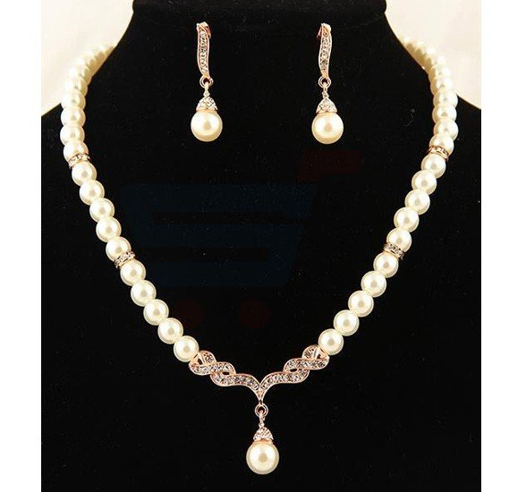 Rose Gold Plated Pearl Party Jewelry Set For Women