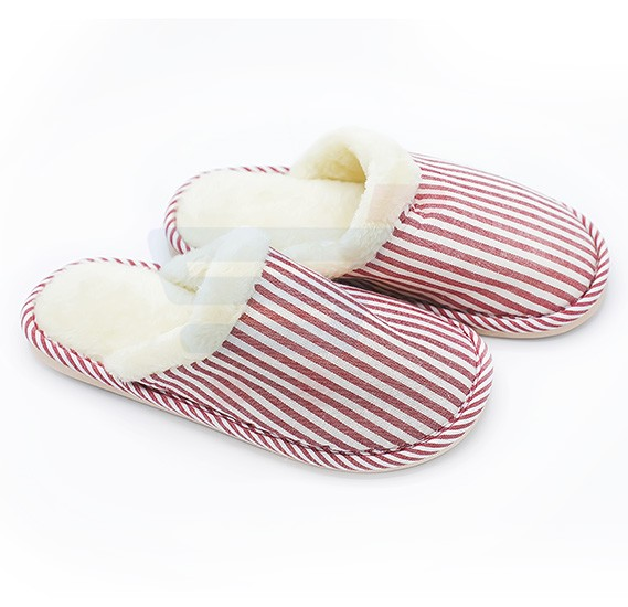Faux Fur Winter Slippers Rose Stripes