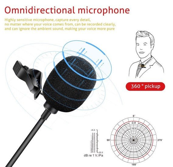 Lavalier GL119 Mini Microphone Wired Omnidirectional Mic 3.5mm Mic Conference Portable Microphone For MobilePhone camera