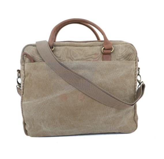 Para john Canvy Leather Briefcase Khaki - PJBC8905