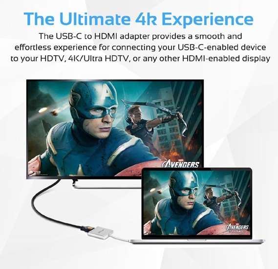 Promate USB Type-C Hub, Aluminum Multi-Port USB-C Adapter to 4K HDMI Video Output with USB-C Pass-Through Charging and USB 3.0 Port for MacBook Pro, Chromebook Pixel, iOS, Windows, UniHub-C2.Grey