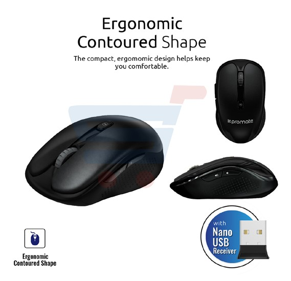 Promate 2.4 GHz Multimedia Wireless Optical Mouse with USB Adapter for Windows, Mac, CLIX-4.BLACK