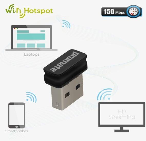 Promate wiMate-150 Ultra-Small Wireless Adapter/ Transmitter with WiFi Hotspot
