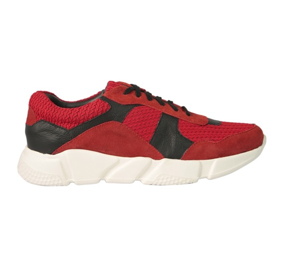 Yoho Thames Runner Lace Up Casual Color Red Leather Size 44,Red