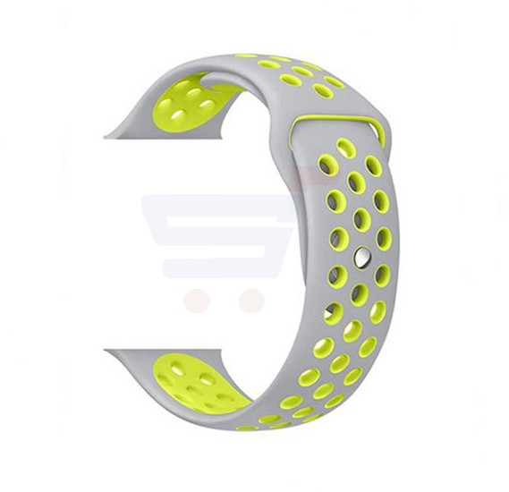 Silicone Watch Band For Apple Watch 42MM Bracelet Strap With Breathable And Holes Sport Silver Yellow