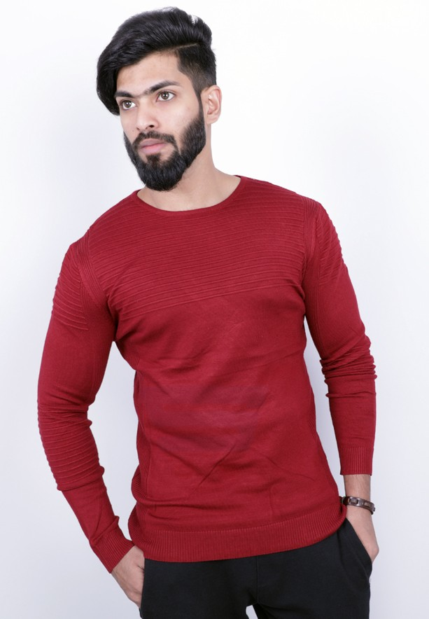 Score Jeans Mens Sweater Full Sleev Red - HF533 - M