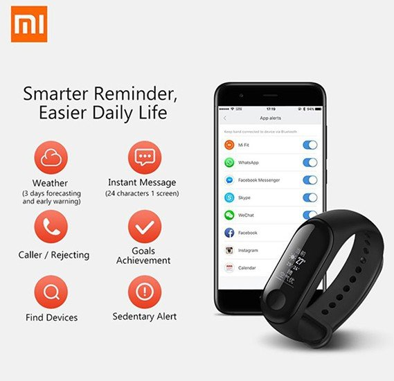 Xiaomi Mi Band 3 Fitness Tracker 110 mAh Black