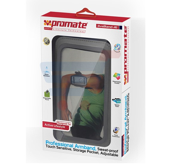 Promate liveBand i6 High Performance Sport Band Case for Apple iPhone 6/6S, Gray
