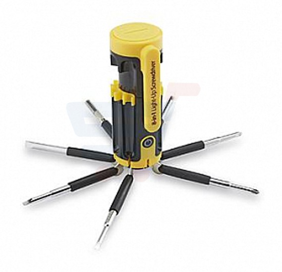 8-In-1 Light-Up Pocket Screwdriver, Yellow