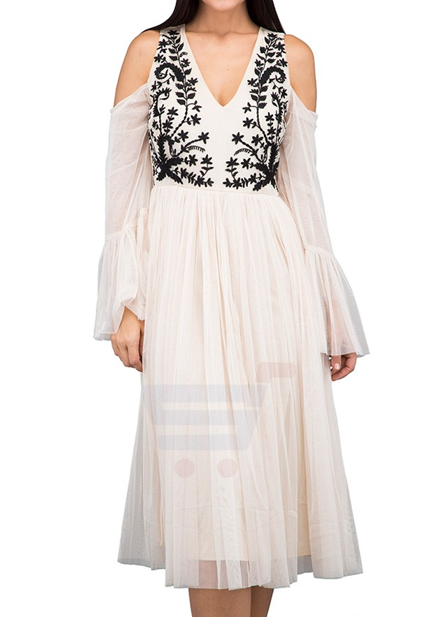 TFNC London Alice Maxi Dress Cream - LNB 37575 - S