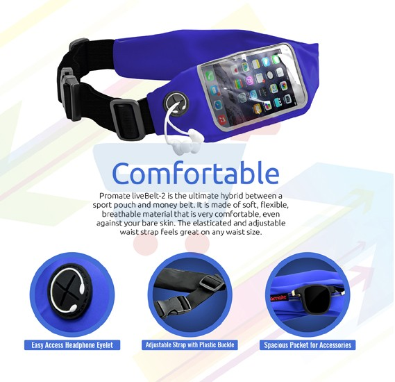Promate Sports Running Belt Waist Pack with Touch Screen Window for Smartphones, LIVEBELT-2.BLUE