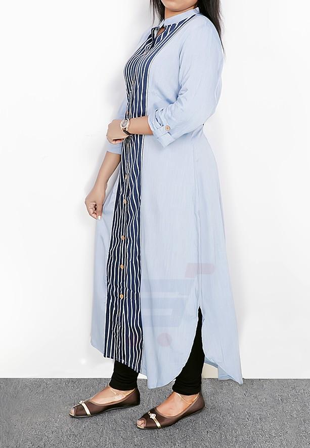 Ruky Fareen Long Top Full Sleeve Kurthees Black Stripes Cotton - RF 105 - M