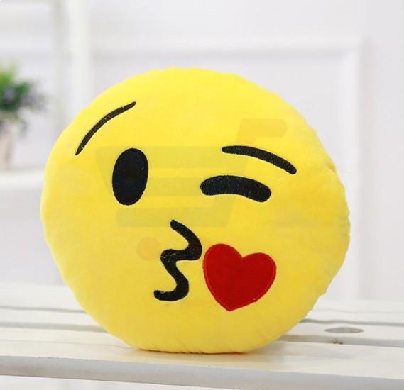 Yellow Round Cushion Pillow, Emoji Kissing