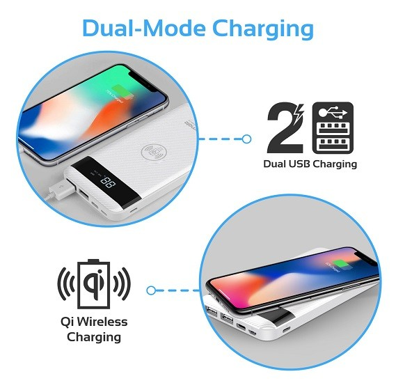 Promate AuraPack-10 White Wireless Charger Power Bank