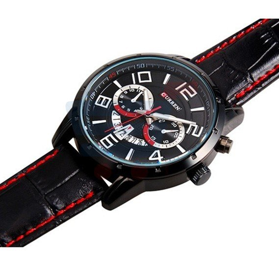 Curren Black Leather Strap Mens Watch, -M 8140