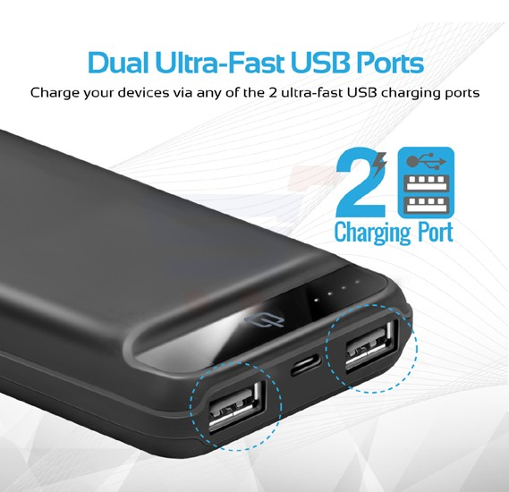 Promate Power Bank, Ultra-Compact 20000mAh Portable charger with Ultra-Fast Charging Dual 2.4A USB Port and Over Charging Protection for Smart Phones, Tablets, iPod, iPad, Quantum-20.Black