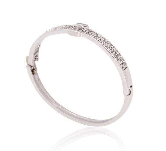 Kavani White Gold Zirconia Stone I Pattern Kada for Her - GH