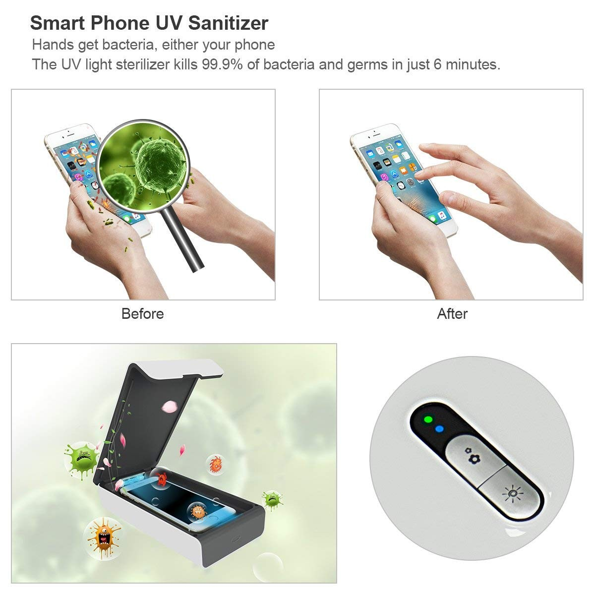 UK Plus Compatible for Phone Sanitizer UV Light Sterilizer Cleaning iPhone Android Smart Phone Toothbrush Jewelry Watches-White
