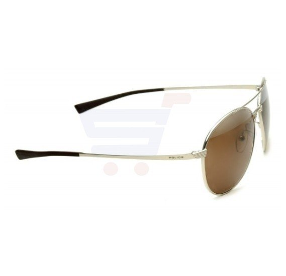 Police Round Silver Frame & Palladium Mirrored Sunglasses For Men - S8953V579X