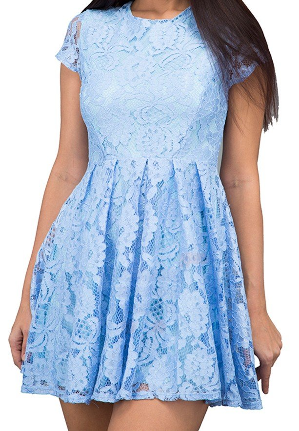 WAL G Italy Lace Mini Casual Dress Blue - WG 5552 - XXL