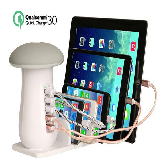 5-Port USB Charging Station with Qualcomm Quick Charge 3.0 Technology with 5 Slots and Mushroom LED Desktop Lamp