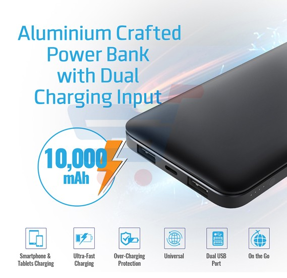 Promate Power Bank 10000mAh High Capacity Zenith-10 Black