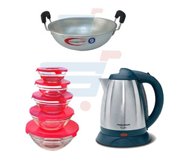 Bundle Offer 7 Pcs Non Stick Cookware Set + Glass Bowl 5 Pieces Set + Kadai With Aluminium Handle + Electric Kettle 1.8 Litre