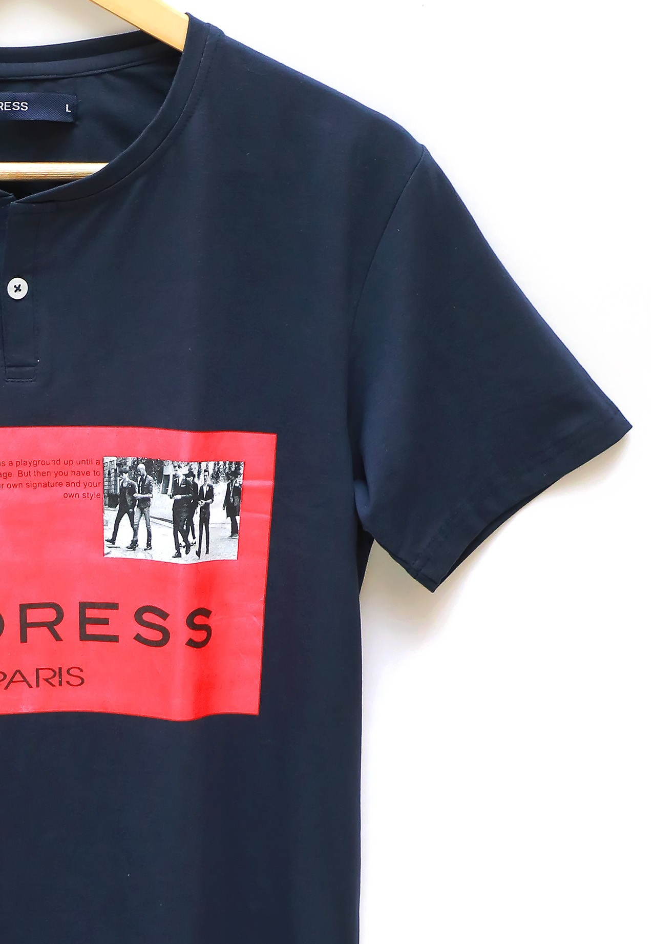 Address Printed T-Shirt Blue, XXL