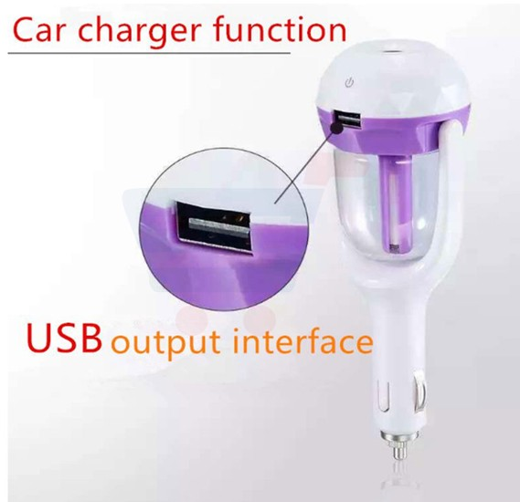 Car Humidifier With USB Charger, Air Aromatherapy, Purifier - Multi Colour
