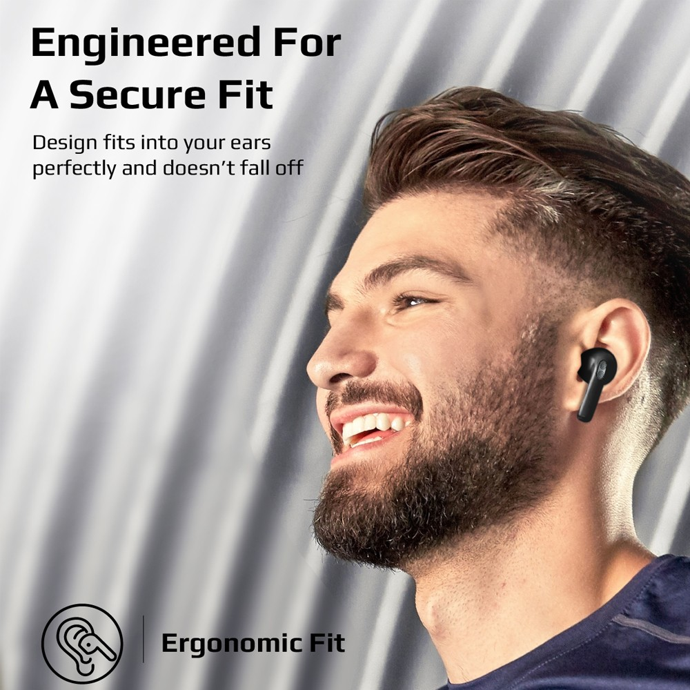 Promate True Wireless Earbuds, Premium In-Ear Bluetooth v5.0 Headphones with Charging Case, Charisma-2 Black
