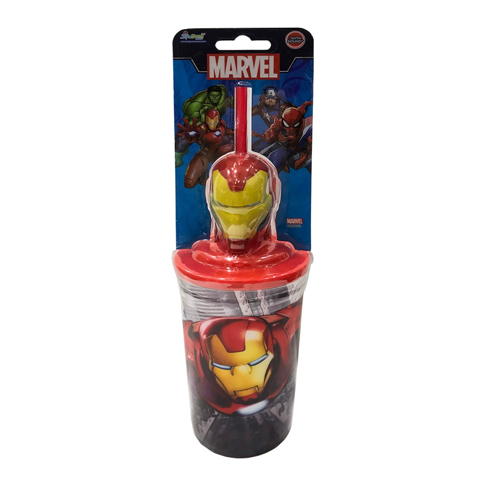 Sip N Sound Marvel Iron Man Recyclable Straw With 400ml Cup, Red, MSNS18002