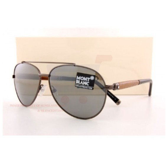 Mont Blanc Aviator Gunmetal/Walnut Frame & Gray Flash Silver Mirrored Sunglasses For Unisex - MB518S-08C