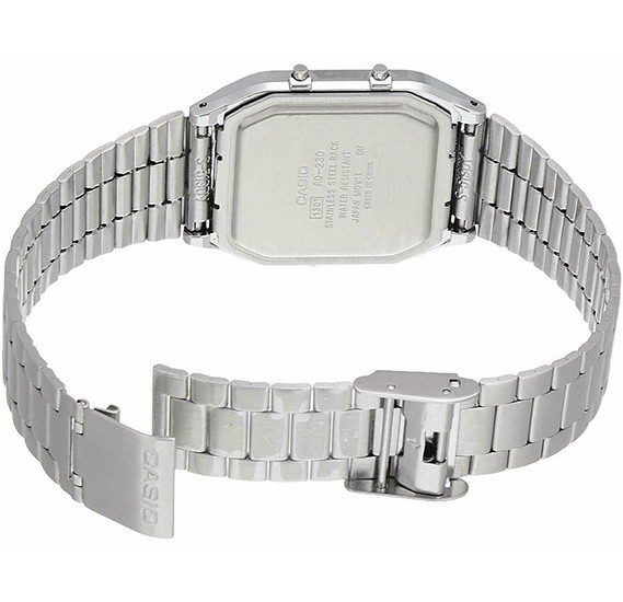 Casio Analog/Digital Watch For Men, Stainless Steel-AQ-230A-7B