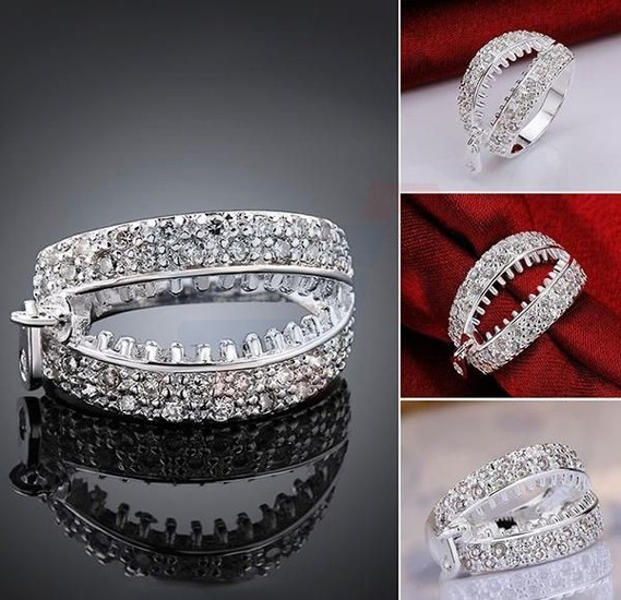 Russian Zircon Zipper Pattern Finger Ring Size7, 925 Silver Plated