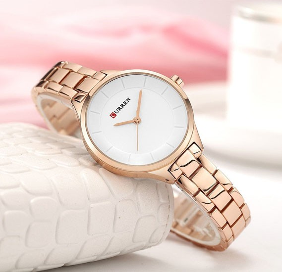 Curren Luxury Minimal Design Analog Stainless Steel Watch For Women, 9015,Rose Gold White