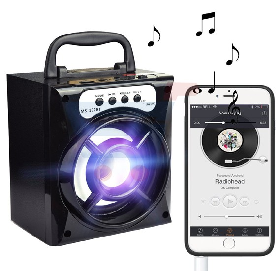 MS-132BT bluetooth Mini Portable Stereo Super Bass Subwoofers Wireless Speaker  With LED changing light