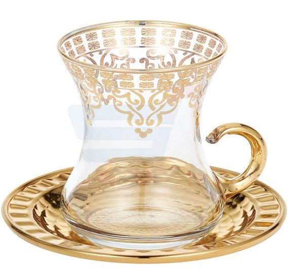 Dalgic Golden Glass Tea Set with wavy Tray