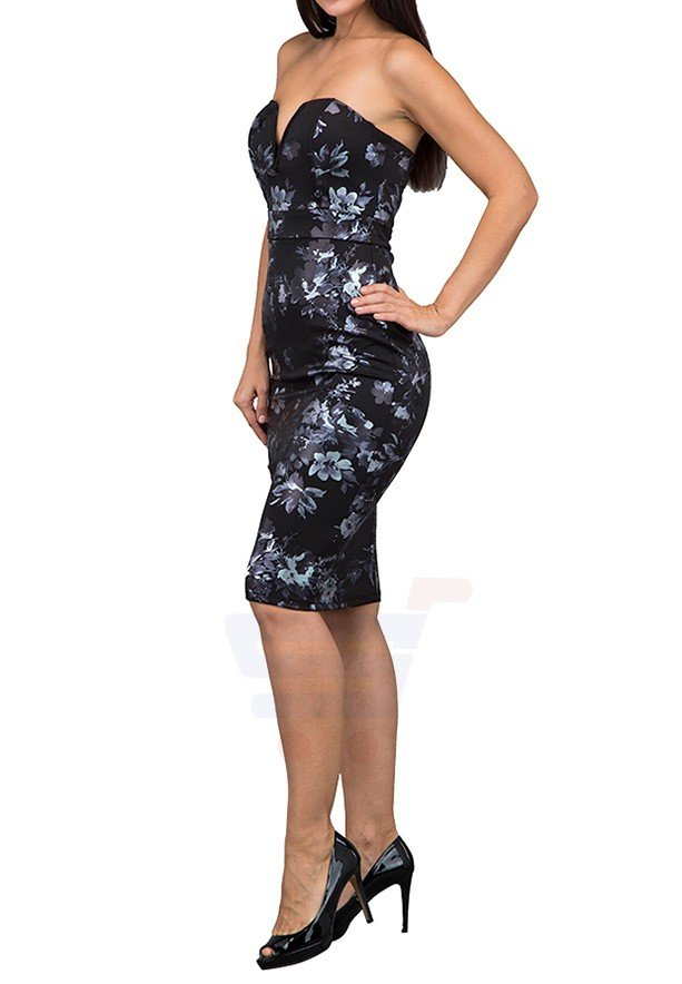 TFNC London Halo Floral Midi Party Dress Black - CTT 57770 - L