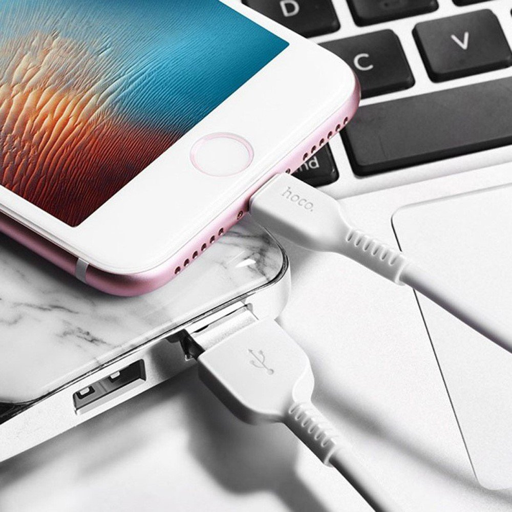 Hoco Flash Lightning Charging Cable L 1M White, X20