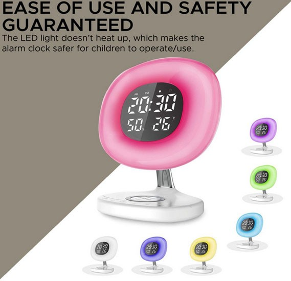 Promate Wireless Charging Alarm Clock, Soothing Touch Control 6 Color LED Night Light with Wake-Up Digital Alarm Clock, AuraRise.White