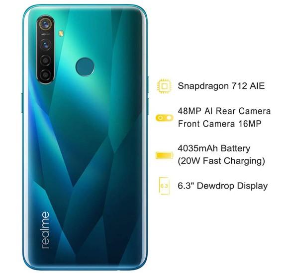 Realme 5 Pro Dual SIM 4GB RAM 128GB 4G LTE, Crystal Green