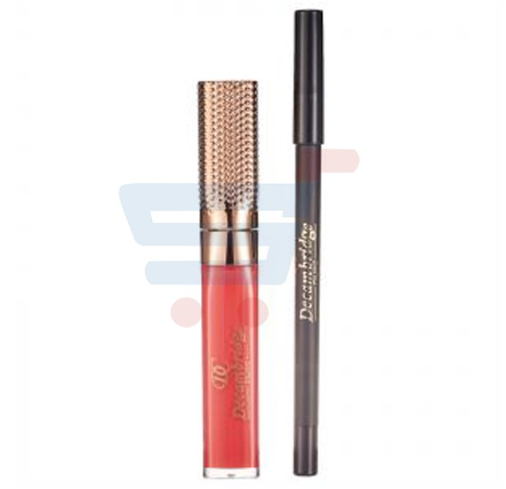 Decambridge Dark Red Matte Liquid Lipstick and Lip Liner, LP07