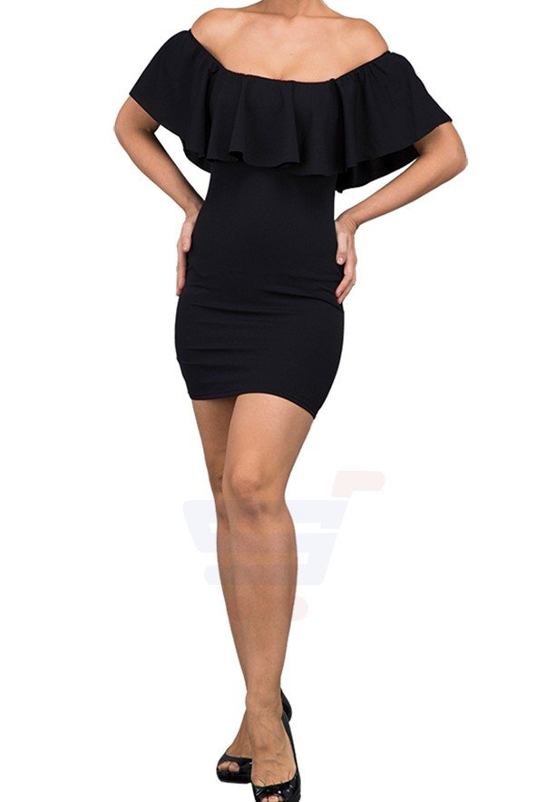 WAL G Italy Bardot Casual Dress Black - CH 88040 - XL