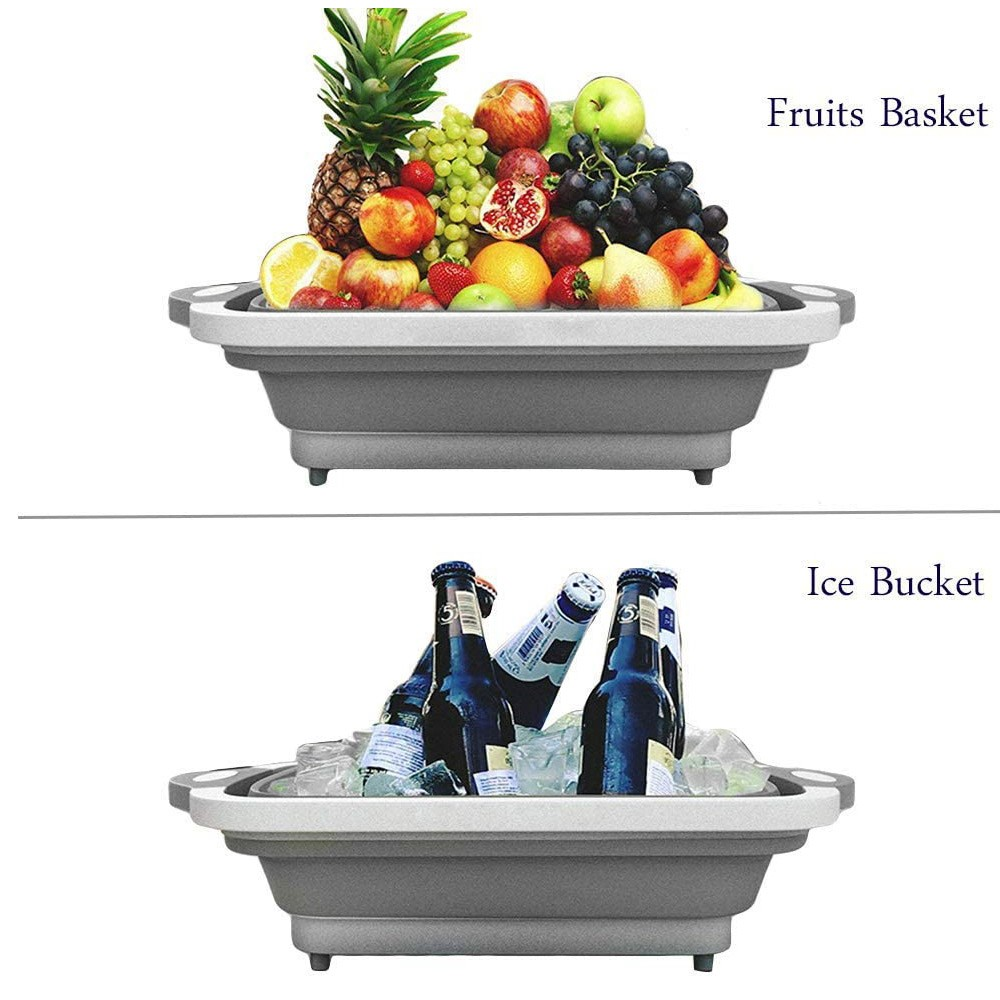 Foldable Multifunction Chopping Board, Collapsible Dish Tub Basin Cutting Board Colander, Vegetable Fruit Wash and Drain Sink Storage Basket, Space Saving for Kitchen Home (Grey)
