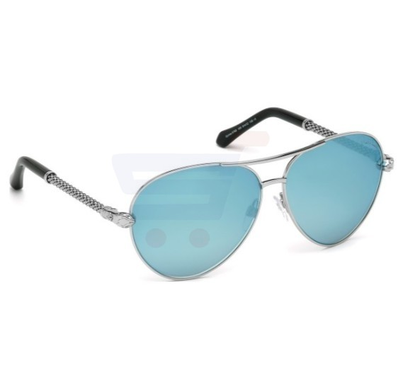 Roberto Cavalli Aviator Silver/Black Frame & Blue Mirrored Sunglasses For Unisex - 976S-16X