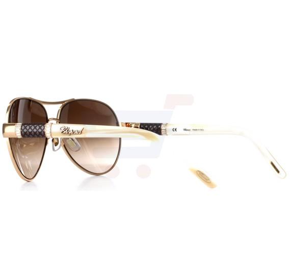 Chopard Oval Copper Gold Frame & Brown Sunglass Mirrored For Women - SCHA59S-8FCX