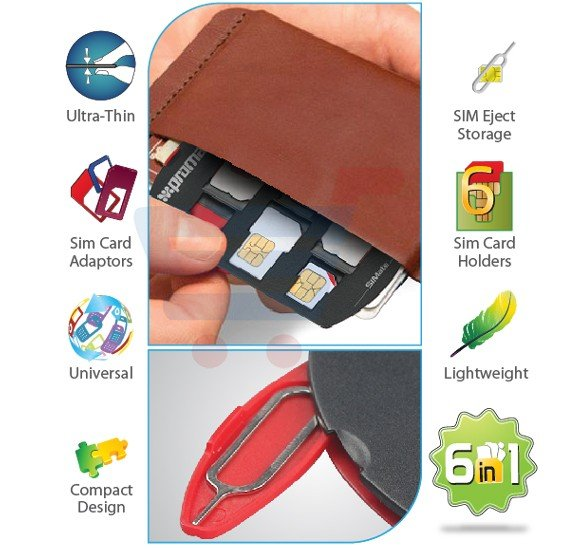 Promate 6 in 1 SIM Card Adapter and Tray Remover Container, SIMATE.BLACK