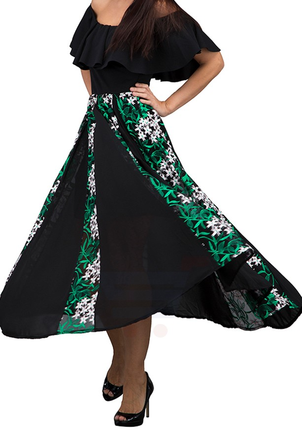 WAL G Italy Off Shoulder Lace Embroidered Maxi Dress Black/Green - WG 7732 - XXL
